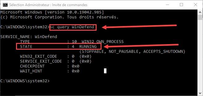 vérifier l'état de Windows Defender