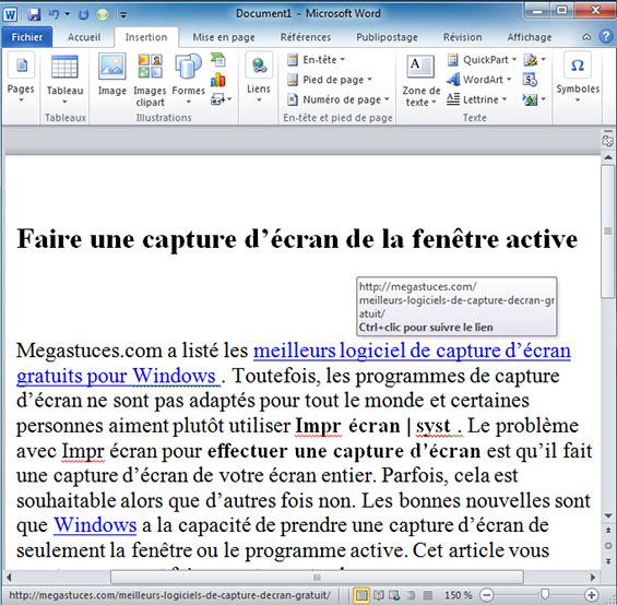 exemple liens hypertexte dans un document word 2010