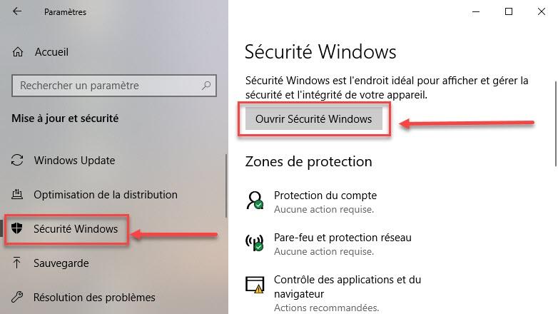 Sécurité Windows 10