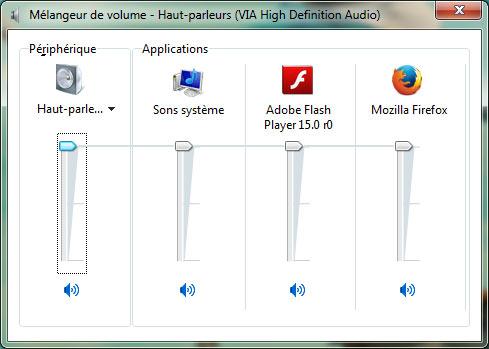 Mélangeur de volume windows 7