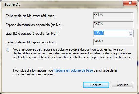redimensionner une partition de disque dur