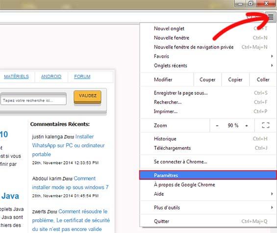 paramètres de Google Chrome