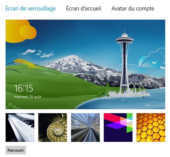 écran de verrouillage windows 8