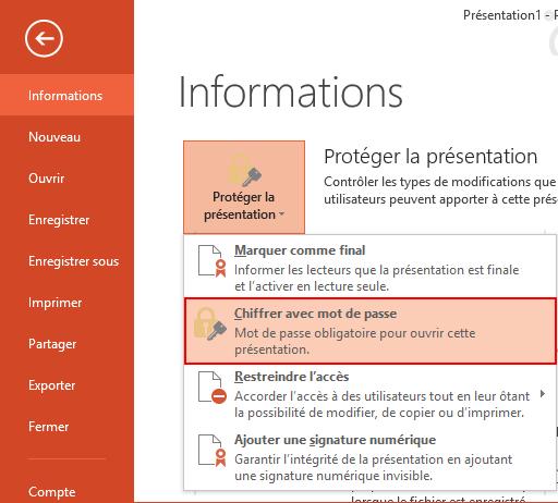 liste des options pour protéger une présentation powerpoint 2013