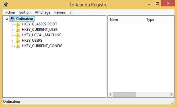 éditeur de registre windows 8