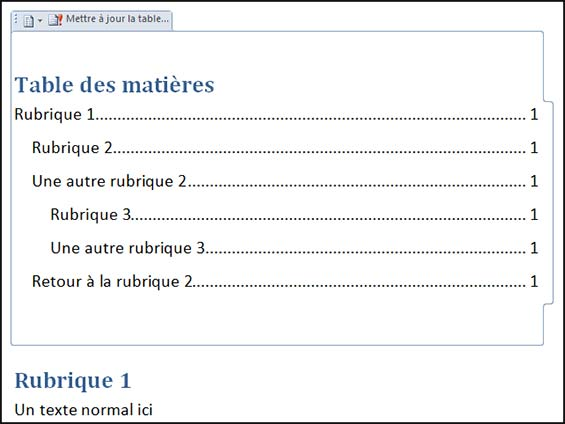 exemple insertion table matieres automatique