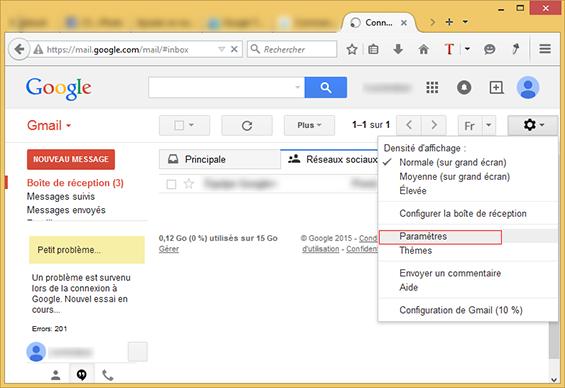 parametre compte gmail