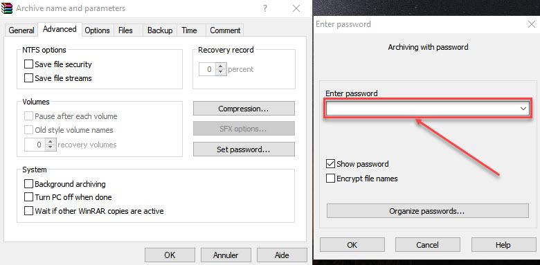 WinRAR pour protéger vos fichiers vidéo par mot de passe