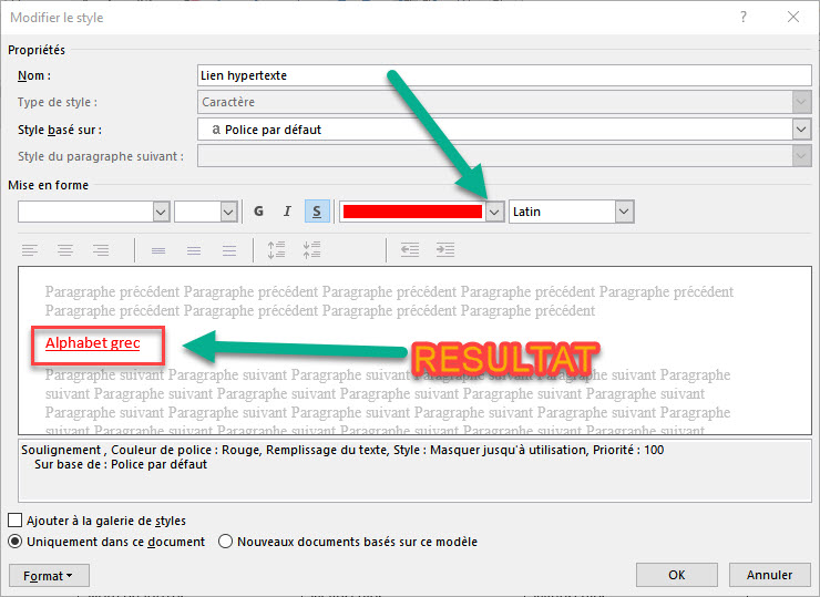Resultat de modification de lien hypertexte