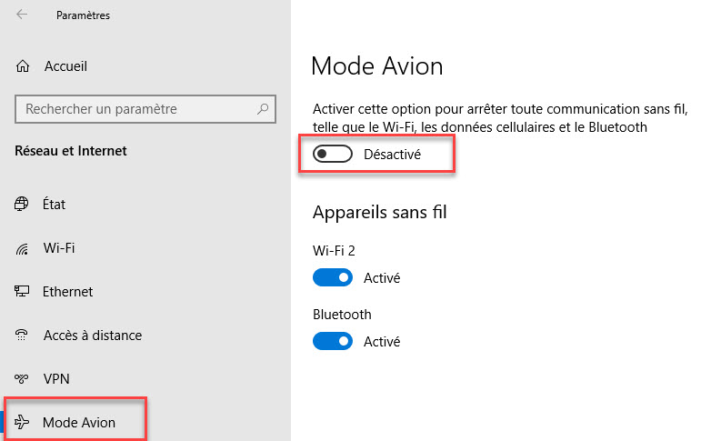 Désactiver le Mode Avion sur windows 10