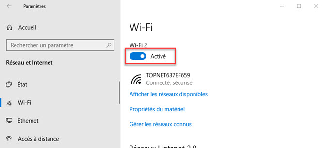 désactiver wifi windows 10