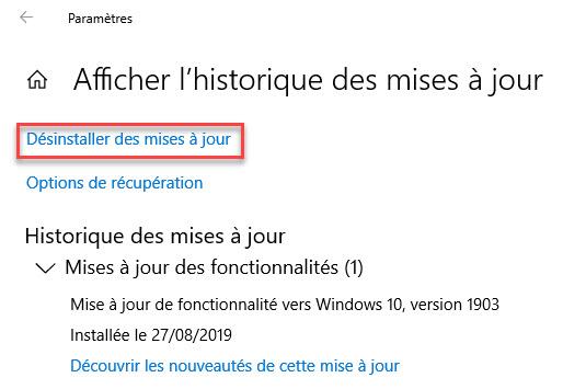 Désinstaller des mises à jour windows10