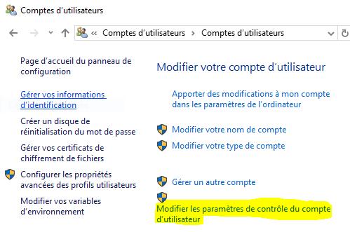 Modifier les paramètres de contrôle de compte utilisateur