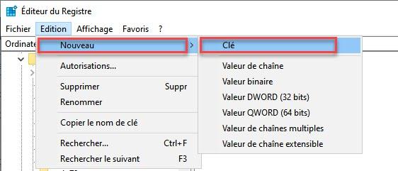 ajouter clés de Registre Windows