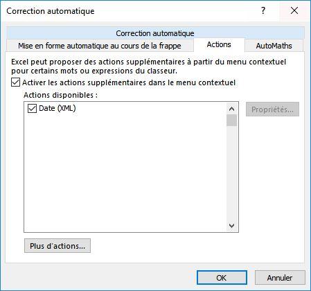 Actions de correction automatique excel