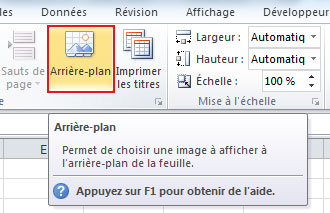 arriere plan excel