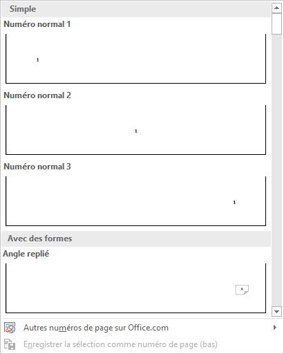 apparence des numéros de page word