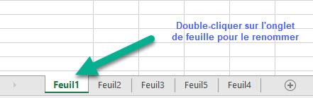 Renommer la feuille de calcul en double-cliquant sur l'onglet