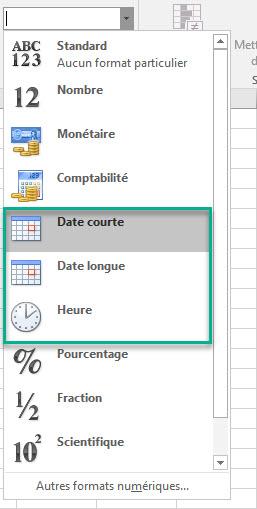 formats de date courts ou longs excel
