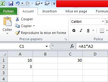 resultat multiplication EXCEL