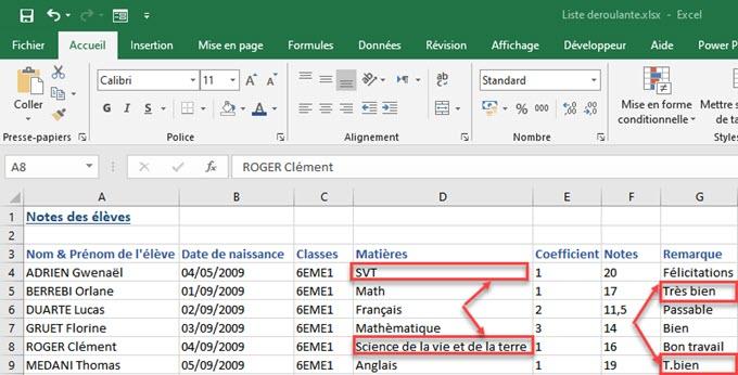 Utilisez des listes déroulantes pour assurer la cohérence dans la saisie des données