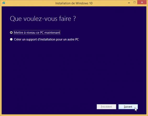 mettre à niveau vers Windows 10