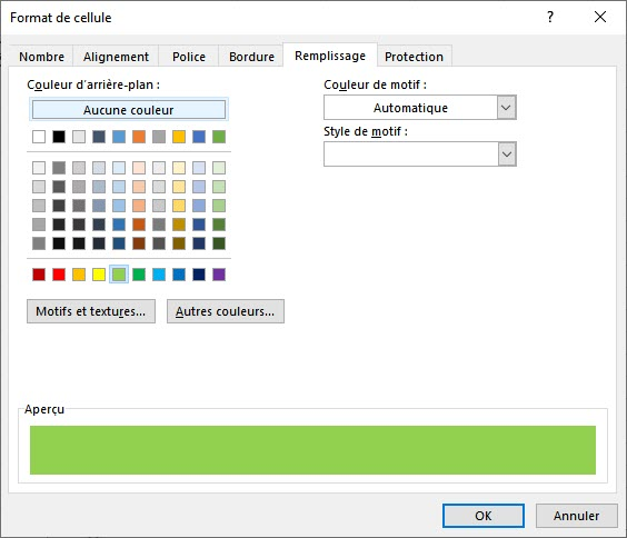 Modifier la couleur de fond d'une cellule Excel