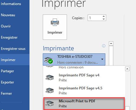 créer un fichier PDF à partir de votre document word