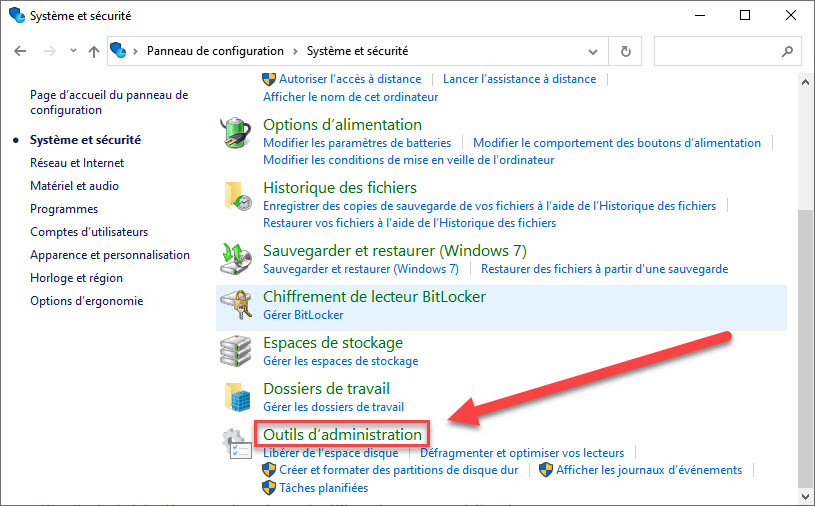 Outils d'administration windows 10