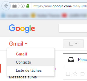paramètres contacts android dans gmail