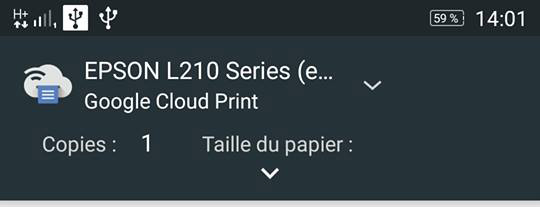 sélectionnez une imprimante google print