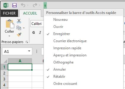 Personnaliser la barre d'outils accès rapide Excel