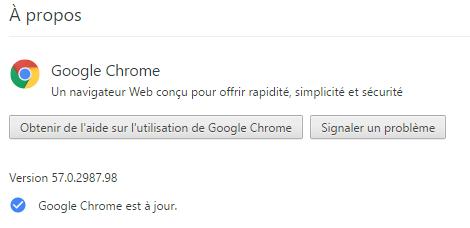 Google Chrome est à jour