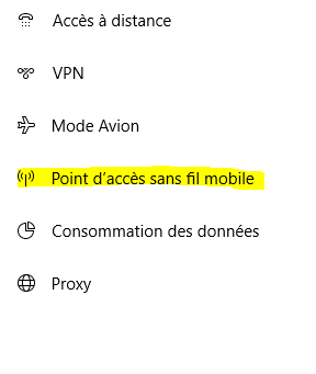 Point d'accès sans fil mobile Windows 10