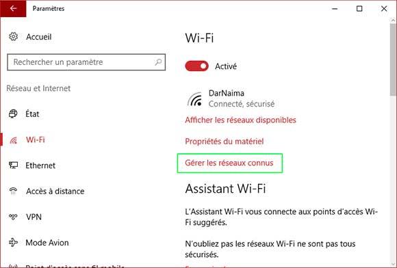 Comment oublier une connexion WIFI dans Windows 10