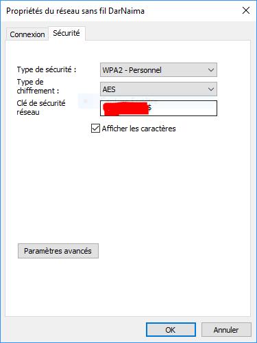 Afficher les caractères mot de passe wifi