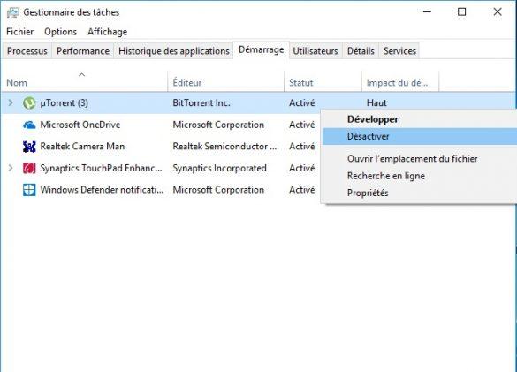 désactiver les programmes de démarrage dans Windows 10