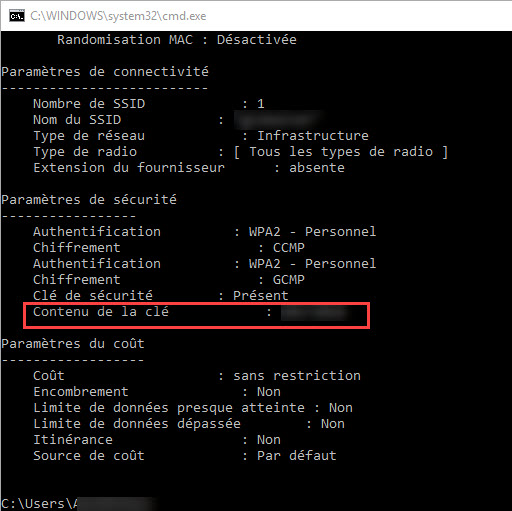 CMD pour trouver le mot de passe WiFi windows 10