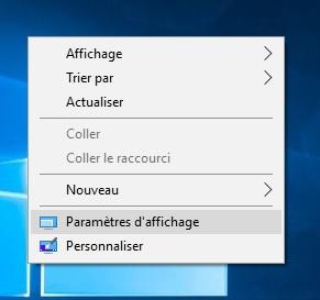Paramètres d'affichage windows 10
