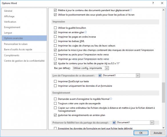 Les options avancées de la boîte de dialogue Options Word.