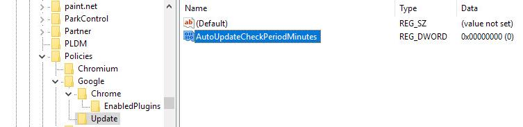 Réglez la valeur AutoUpdateCheckPeriodMinutes google chrome