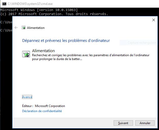 Détecteur de problèmes d'alimentation windows 10