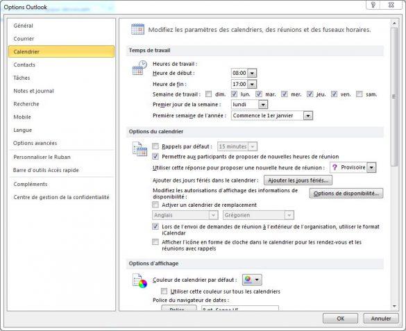 Désactiver les rappels de calendrier Outlook