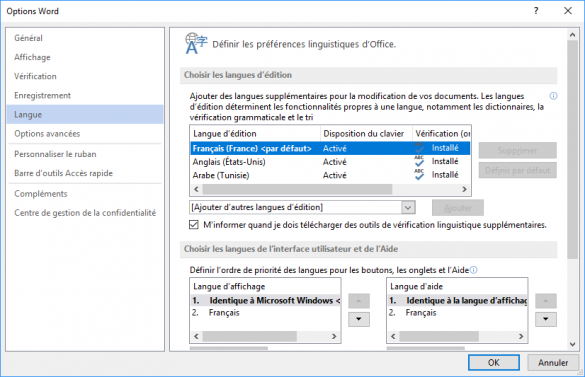 changer la langue de Microsoft Office