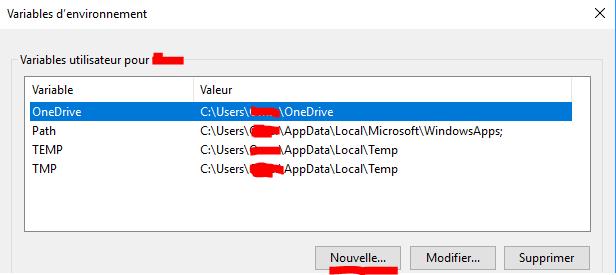 créer une vouvelle variable d'environnement utilisateur windows 10 et 7