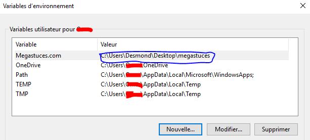 nouvelle variable est listée dans la liste des variables utilisateur
