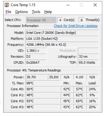 Core Temp: moniteur de température windows