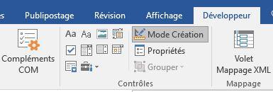 Mode création formulaire word