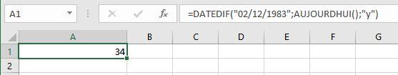 calculer le nombre total d'années complètes excel