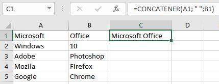 fusionner des cellules dans Excel à l'aide de la fonction CONCATENER